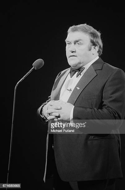 English comedian Les Dawson performing at the Royal Variety Performance Theatre Royal Drury Lane London 7th November 1983