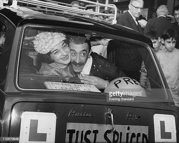 English comedian Mario Fabrizi marries Katherine Boyce or Boyne May 1960 Their Austin has a sign on the back reading 'Just Spliced'