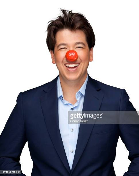 English comedian Michael McIntyre, wearing a Red Nose Day nose for Red Nose Day 2011, in the studio on 18 March, 2011 in London.
