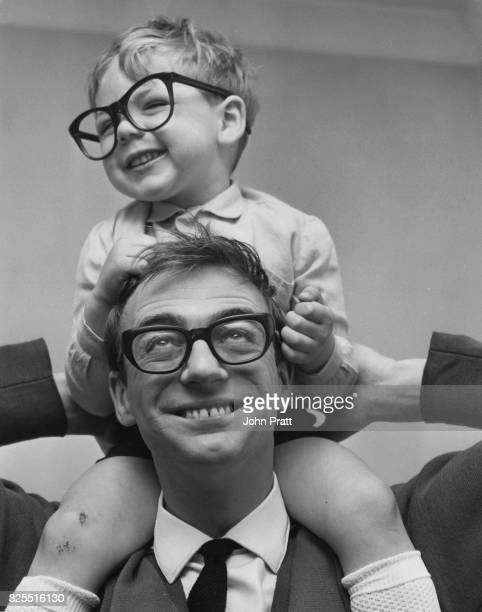 English comedian Roy Hudd with his threeyearold son Max at their home in Croydon London May 1967