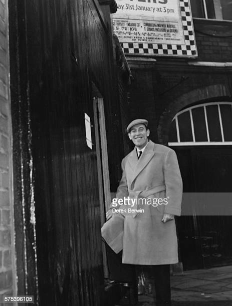 English comedian Tommy Trinder new Director of Fulham Football Club smiling as he arrives at Craven Cottage for his first meeting in the role London...