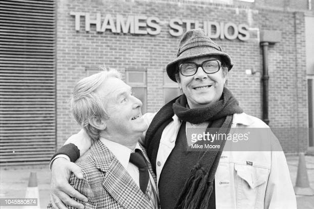 English comedians Eric Morecambe and Ernie Wise outside the Thames Studio London UK 4th December 1979