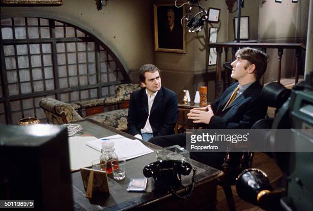 English comedians Peter Cook and Dudley Moore pictured in a sketch from the television series 'Not OnlyBut Also' in 1966