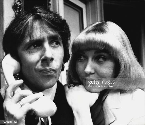 English comedy actor Richard O'Sullivan rehearses a scene from the comedy Boeing with actress Paula Bowman who plays the part of Judith a Lufthansa...