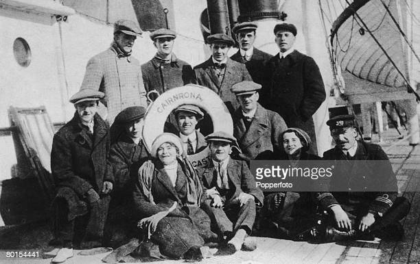 English comedy actors Charlie Chaplin and Stan Laurel are amongst the Fred Karno troupe en route to America on board the liner 'Cairnrona' 1910