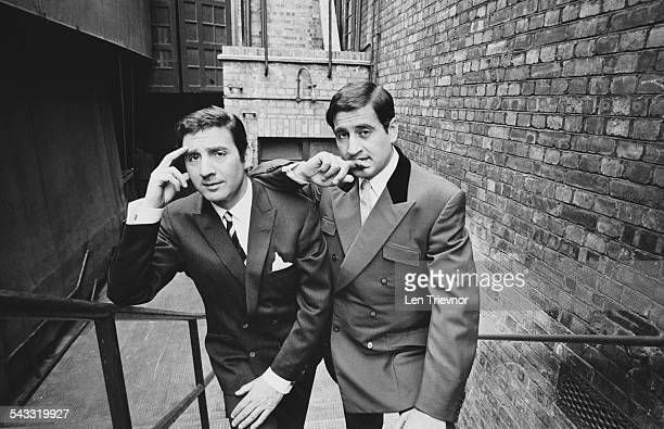 English comedy double act comprised of brothers Mike and Bernie Winters pose for a photograph after submitting their bid to buy Aston Villa FC 11th...