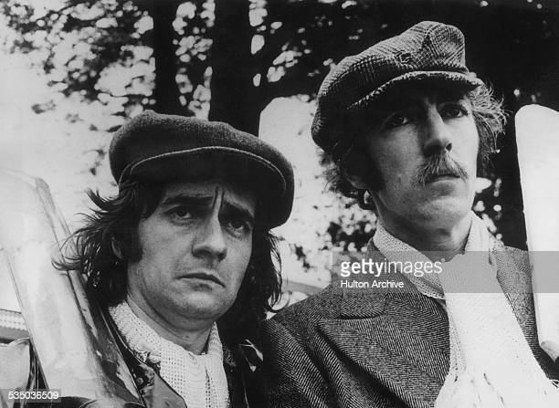 English comedy duo Dudley Moore and Peter Cook preparing to film a cricket sketch for their BBC TV comedy show 'Not Only But Also' Australia June 1971