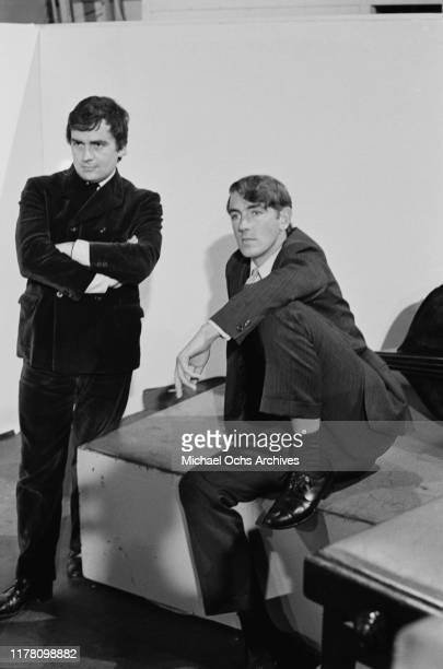 English comedy duo Peter Cook and Dudley Moore appear on the British television show 'Ready Steady Go' in London UK April 1966