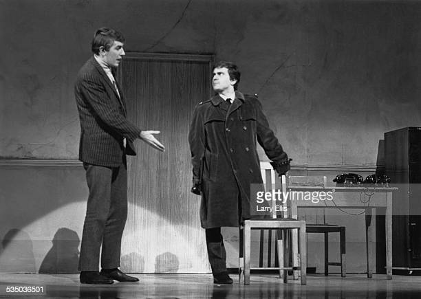 English comedy duo Peter Cook and Dudley Moore performing their sketch 'One Leg Too Few' in which a onelegged actor applies for the role of Tarzan in...