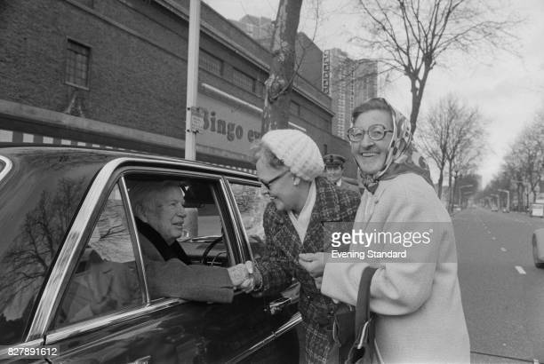 English comic actor and filmmaker Charlie Chaplin meets fans 13th January 1975 His car was parked near the 'Granada Bingo' on Kennington Road London