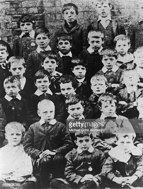 English comic actor Charlie Chaplin at age 7 with fellow pupils at Hanwell Poor Law School London 1897