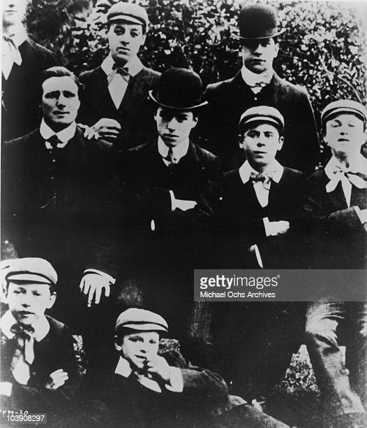 English comic actor Charlie Chaplin with other members of the Casey's Circus music hall comedy troupe UK 1906 To the left of Chaplin is Will Murray...