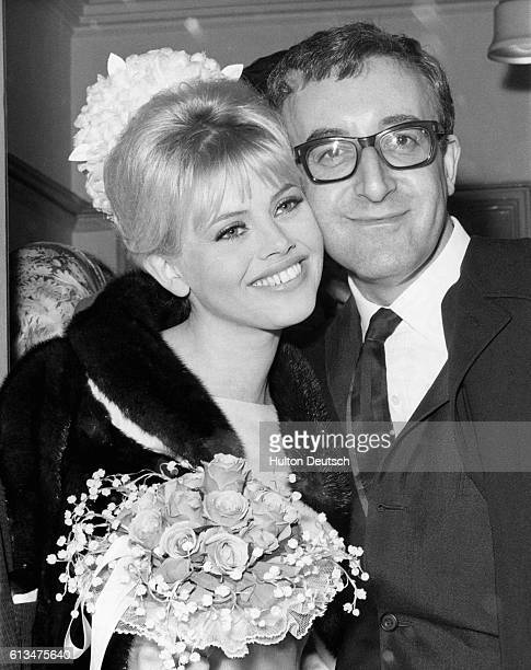 English comic actor Peter Sellers marrying Swedish actress Britt Ekland at Guildford Register Office, England, 1964.