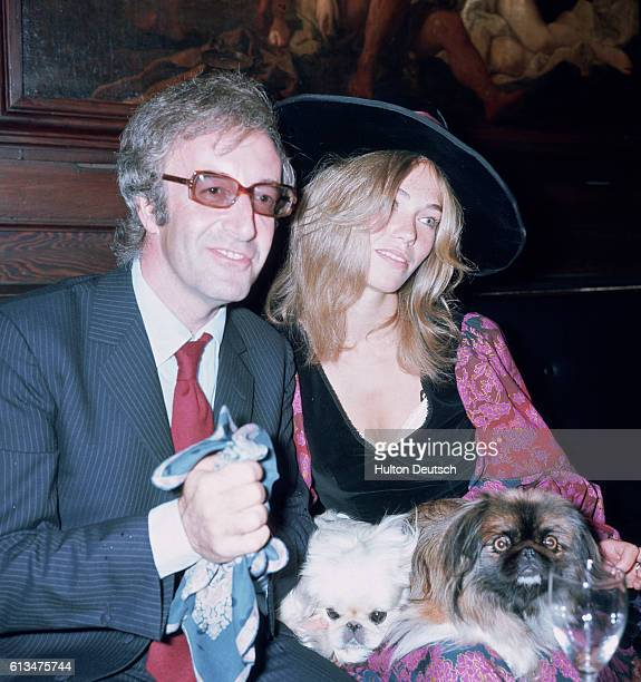 English comic actor Peter Sellers with his new wife Miranda Quarry at their wedding reception 1970