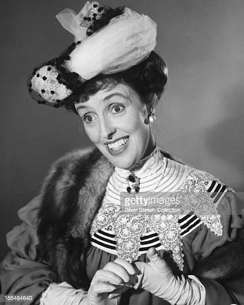 English comic actress Joyce Grenfell in Edwardian costume circa 1955 THE