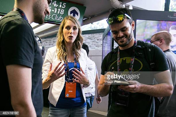 English commentator Jorien 'Sheever' van der Heijden meets with fans at The International DOTA 2 Championships at Key Arena on July 19 2014 in...