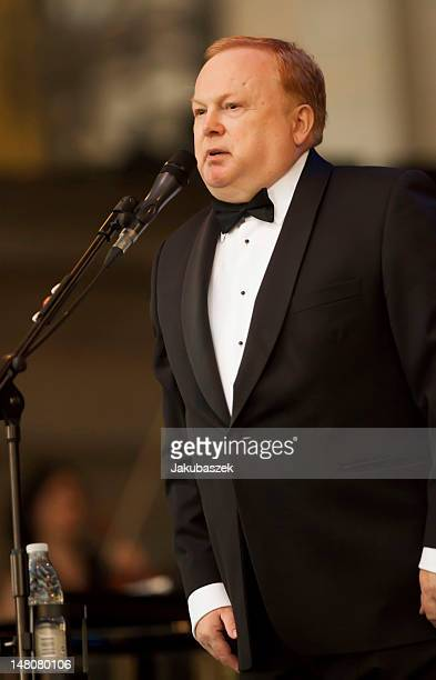 English composer and conductor Mike Batt speaks during the Katie Melua concert at the Classic Open Air festival at the Gendarmenmarkt on July 09 2012...