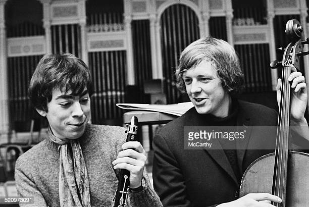 English composer and impresario of musical theatre Andrew Lloyd Webber and British lyricist and author Tim Rice during rehearsals for 'Joseph and the...