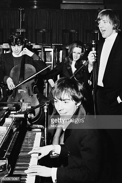 English composer and impresario of musical theatre Andrew Lloyd Webber with musicians during rehearsals for 'Joseph and the Amazing Technicolor...