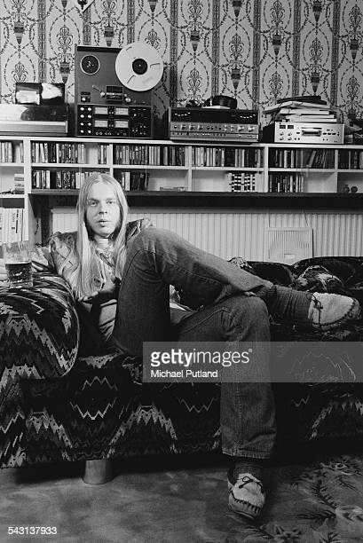 English composer and keyboard player Rick Wakeman 9th April 1975 On a shelf behind him is a Teac reeltoreel tape recorder