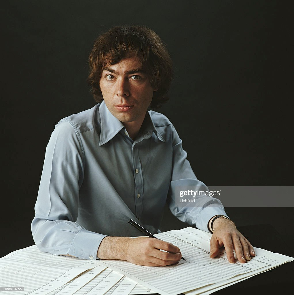 English composer Andrew Lloyd Webber at work on a piece of music, 1982.