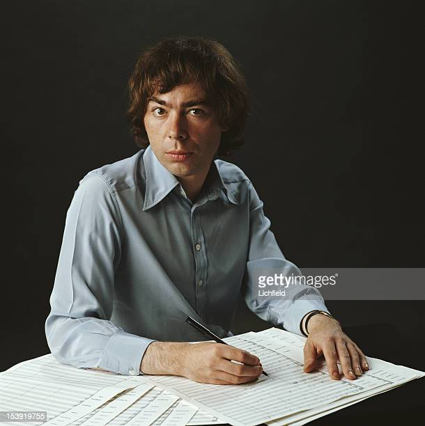 English composer Andrew Lloyd Webber at work on a piece of music 1982