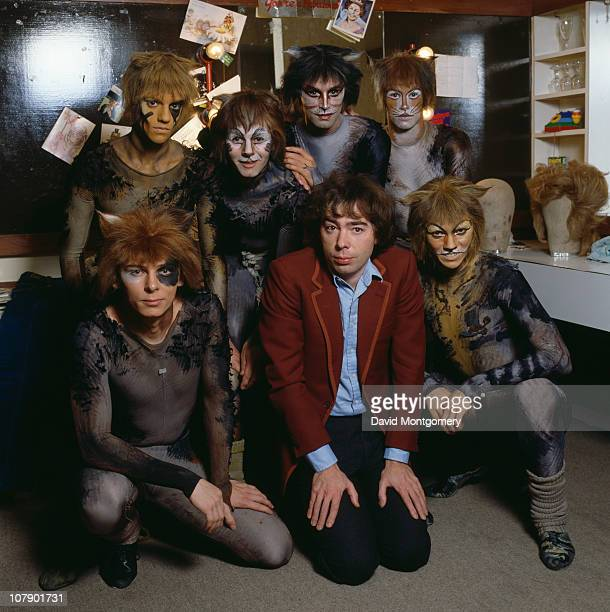 English composer Andrew Lloyd Webber with cast members from his musical 'Cats' circa 1981