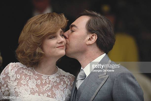 English composer Andrew Lloyd Webber with his new wife Madeleine Gurdon at their marriage blessing ceremony UK 16th February 1991