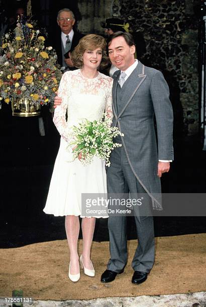 English composer Andrew Lloyd Webber with his new wife Madeleine Gurdon at their marriage blessing ceremony on February 16 1991 in London England