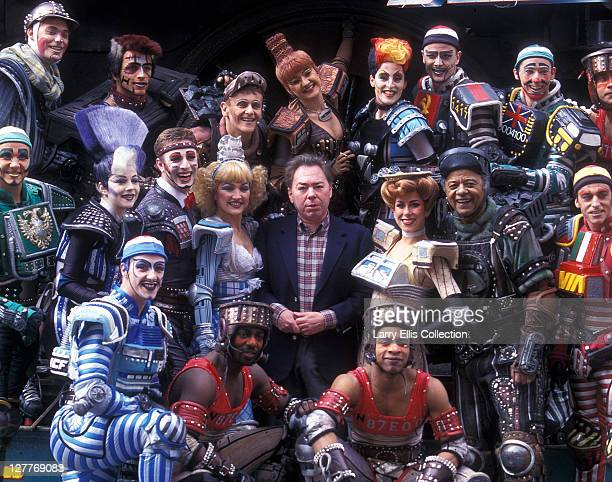 English composer Andrew Lloyd Webber with the cast of his stage musical 'Starlight Express' circa 1984