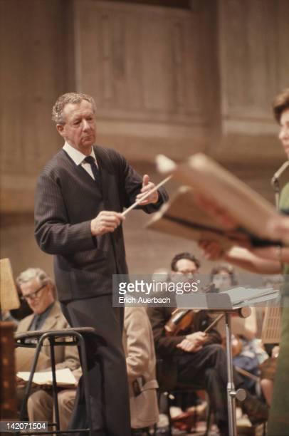 English composer Benjamin Britten conducting circa 1965