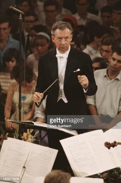 English composer Benjamin Britten conducting June 1976