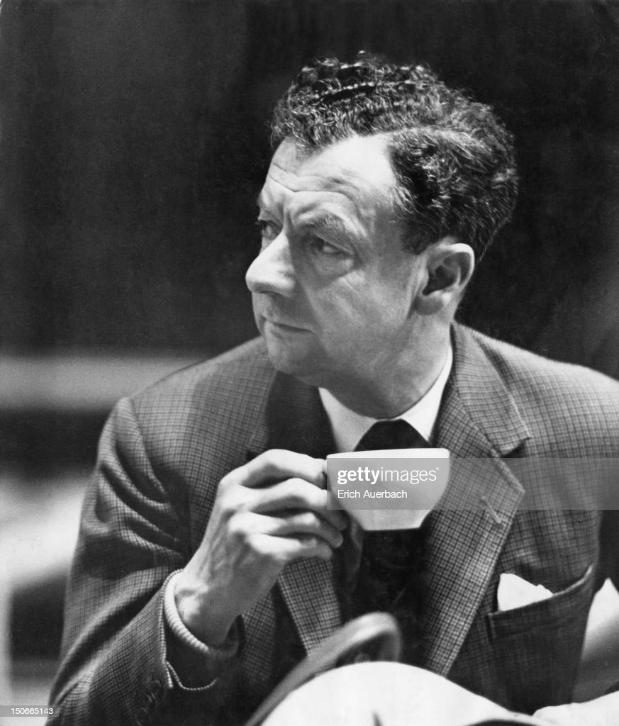 English composer Benjamin Britten (1913 - 1976) during rehearsals for his 'War Requiem' at Coventry Cathedral, Coventry, 29th May 1962. The Requiem premiered in the cathedral the next day.