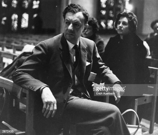 English composer Benjamin Britten in Coventry Cathedral for the first performance of his 'War Requiem', a choral work interpolating nine poems by...