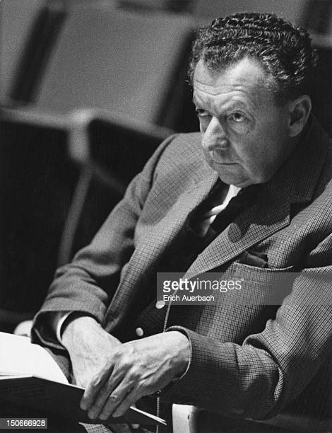 English composer Benjamin Britten listens to his choral piece 'Voices For Today' at the Royal Festival Hall in London 23rd October 1965