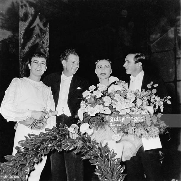 English composer Benjamin Britten on stage after the premiere of the Sadler's Wells Ballet's production of 'The Prince of the Pagodas' for which he...