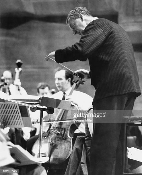 English composer Benjamin Britten rehearsing the English Chamber Orchestra at Queen Elizabeth Hall London 1st March 1967