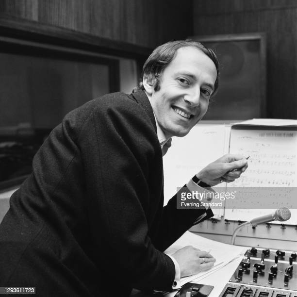 English composer John Barry records the theme song for the James Bond film 'You Only Live Twice', London, UK, April 1967.
