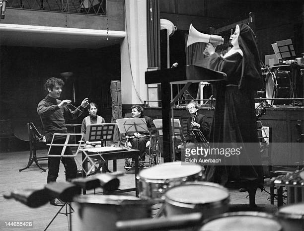 English composer Peter Maxwell Davies conducts Welsh soprano Mary Thomas in a rehearsal of his experimental piece 'Revelation And Fall' 26th February...