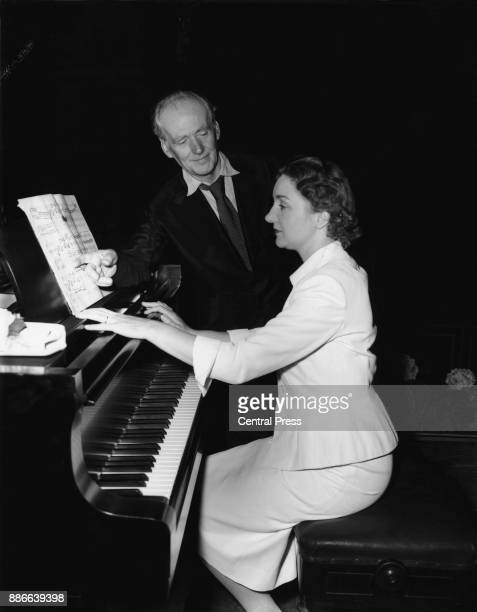 English concert pianist Moura Lympany rehearsing with conductor Basil Cameron for the Prom concert at the Royal Albert Hall in London 10th August...