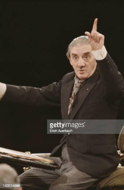 English conductor and cellist John Barbirolli , circa 1968.
