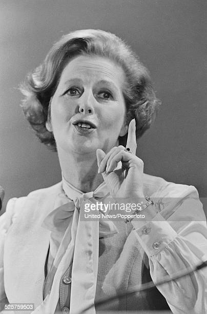 English Conservative Party politician and Leader of the Opposition Margaret Thatcher pictured speaking at an election campaign meeting in London on...