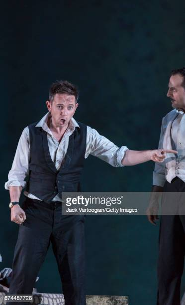 English countertenor Iestyn Davies and American baritone David Adam Moore perform at the final dress rehearsal prior to the US premiere of 'The...
