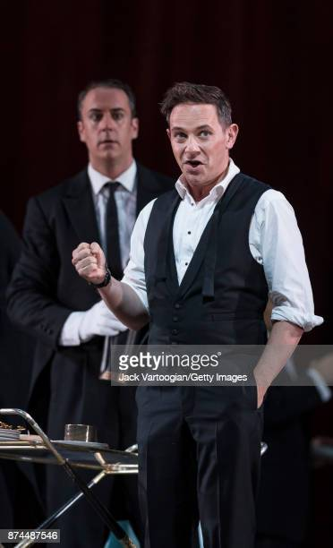 English countertenor Iestyn Davies and American bassbaritone Christian Van Horn perform at the final dress rehearsal prior to the US premiere of 'The...