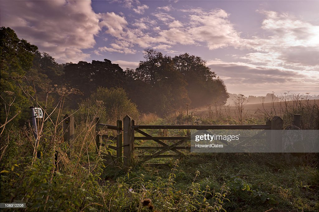 Country Farm Gate at sunrise : Stock Photo