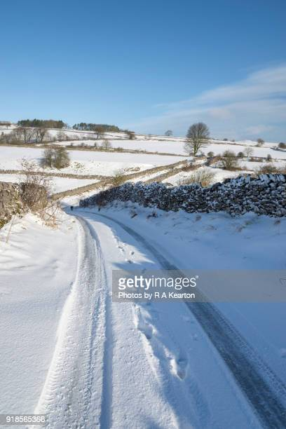 English country lane on a snowy February morning