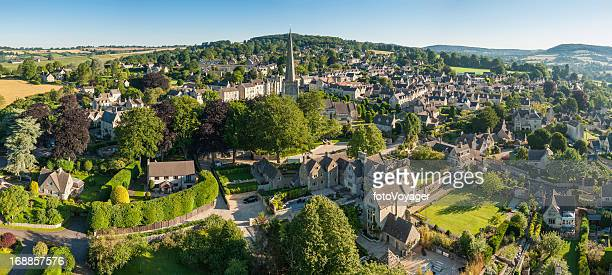 English country village idyllic rural homes aerial photo