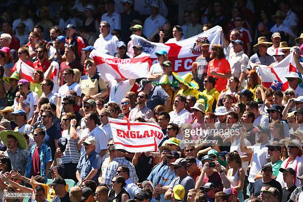 English cricket fans show their support during the 2015 ICC Cricket World Cup match between England and Australia at Melbourne Cricket Ground on...