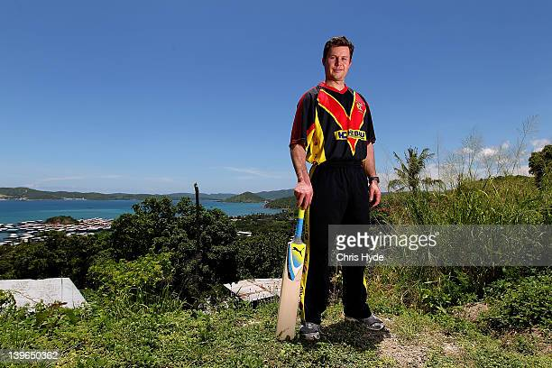 English cricket player Geraint Jones poses for a photograph after arriving to Join the Papua New Guinea T20 Team on February 24 2012 in Port Moresby...