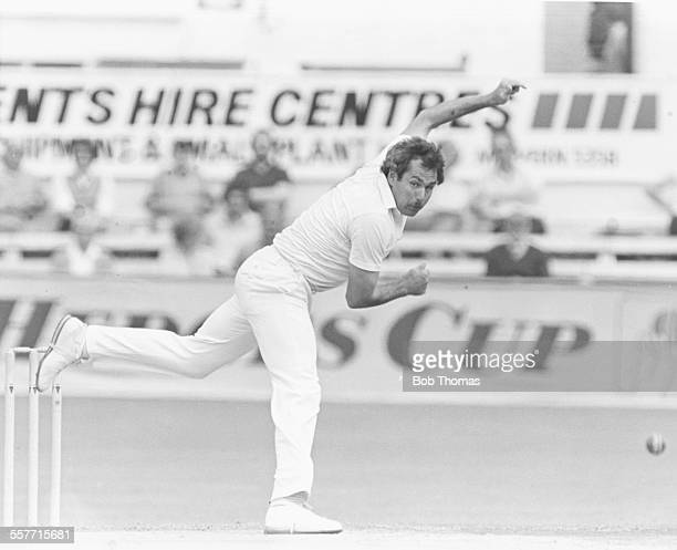 English cricket player John Inchmore bowling for Worcestershire circa 1980